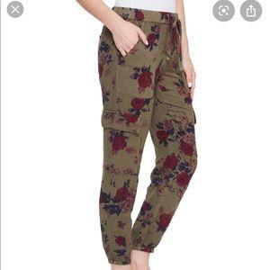 Lucky Brand army green floral linen cargo pants